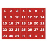 """MasterVision Interchangeable Magnetic Board Accessories, Calendar Dates, Red/White, 1"""" x 1"""" BVCFM1209"""
