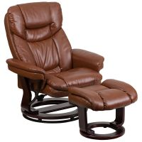 Flash Furniture Contemporary Brown Vintage Leather Recliner and Ottoman with Swiveling Mahogany Wood Base FHFBT7821VINGG
