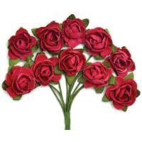 """Mini Paper Blooms .5"""" Flowers W/Wire Stems 10/Pkg NOTM272342"""