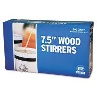 "Royal Paper Wood Coffee Stirrers, 7 1/2"" Long, Woodgrain, 500 Stirrers/Box, 10 Boxes/Carton RPPR825CT"
