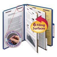 Smead Pressboard Classification Folders, Letter, Six-Section, Dark Blue, 10/Box SMD14032