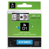 "DYMO D1 High-Performance Polyester Removable Label Tape, 1/2"" x 23 ft, Black on Clear DYM45010"