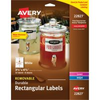 Avery Removable Durable White Rectangle Labels, 3 1/2 x 4 3/4, White, 32/Pack AVE22827