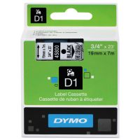 "DYMO D1 High-Performance Polyester Removable Label Tape, 3/4"" x 23 ft, Black on Clear DYM45800"