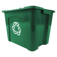 Rubbermaid Commercial Recycling Box, Rectangular, 14 gal, Green RCP571473GRE