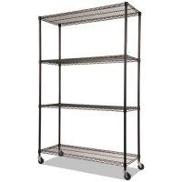 Alera Complete Wire Shelving Unit w/Caster, Four-Shelf, 48 x 18 x 72, Black ALESW604818BL