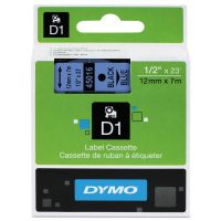"DYMO D1 High-Performance Polyester Removable Label Tape, 1/2"" x 23 ft, Black on Blue DYM45016"