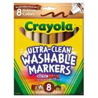 Crayola Washable Markers, Conical Point, Multicultural Colors, 8/Pack CYO587801