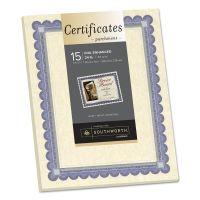 Southworth Foil-Enhanced Parchment Certificate, Ivory w/Blue/Silver Foil, 8 1/2 x 11, 15/PK SOUCT1R
