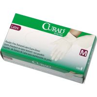 Curad Latex Exam Gloves, Powder-Free, Medium, 100/Box MIICUR8105