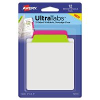 Avery Ultra Tabs Repositionable Tabs, 3 x 3 1/2, Neon: Green, Pink, 12/Pack AVE74770