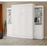"""Bestar Edge by Bestar Full Wall Bed with two 21"""" Storage Units in White BESBES7089317"""