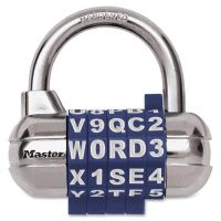 "Master Lock Password Plus Combination Lock, Hardened Steel Shackle, 2 1/2"" Wide, Silver MLK1534D"