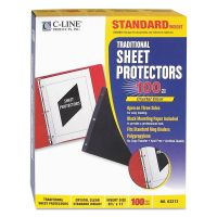 C-Line Traditional Polypropylene Sheet Protector, Letter, Standard Weight, Clear, 100/Box CLI03213