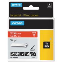 "DYMO Rhino Permanent Vinyl Industrial Label Tape, 1/2"" x 18 ft, Red/White Print DYM1805416"