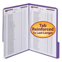 """Smead WaterShed/CutLess Folder, Top Tab, 2 Fasteners, 3/4"""" Exp., Letter, Purple, 50/BX SMD12442"""