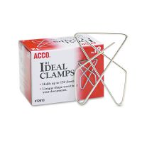 """ACCO Ideal Clamps, Metal Wire, Large, 2 5/8"""", Silver, 12/Box ACC72610"""