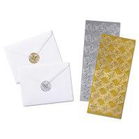 Quality Park Decorative Foil Envelope Seals, Permanent, 1 1/4 x 1-1/4, Assorted, 42/Pack QUA46910
