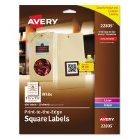 Avery Square Print-to-the-Edge Labels w/TrueBlock, 1 1/2 x 1 1/2, White, 600/PK AVE22805
