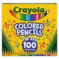 Crayola Long Barrel Colored Woodcase Pencils, 3.3 mm, 100 Assorted Colors/Set CYO688100