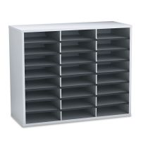 Fellowes Literature Organizer, 24 Letter Sections, 29 x 11 7/8 x 23 7/16, Dove Gray FEL25041