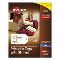 Avery Printable Rectangular Tags with Strings, 2 x 3 1/2, White, 96/Pack AVE22802