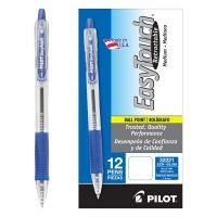 Pilot EasyTouch Retractable Ball Point Pen, Blue Ink, 1mm, Dozen PIL32221