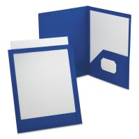 Oxford ViewFolio Polypropylene Portfolio, 50-Sheet Capacity, Blue/Clear OXF57441