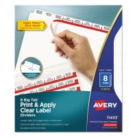 Avery Print & Apply Clear Label Dividers, 8-Tab, White Tab, Letter, 5 Sets AVE11493