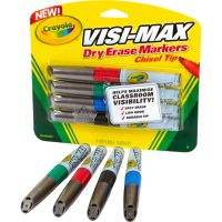 Crayola Dry Erase Marker, Chisel Tip, Broad,  Assorted Colors, 4/Set CYO988902