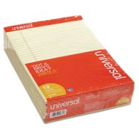 Universal Perforated Edge Writing Pad, Legal/Margin Rule, Letter Size, Legal Rule, Canary, 50 Sheet, 50 Sheets/Pad, 12 Pads UNV10630