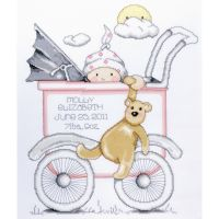 Baby Buggy Girl Birth Record Counted Cross Stitch Kit NOTM435100