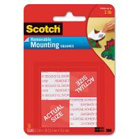 """Scotch Precut Foam Mounting 1"""" Squares, Double-Sided, Removable, 16/Pack MMM108"""