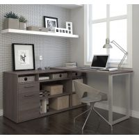 Bestar Solay L-Shaped Desk in Bark Gray BESBES2942047