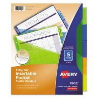 Avery Insertable Big Tab Plastic Dividers w/Single Pockets, 5-Tab, Multi-color Tab, Letter, 1 Set AVE11902