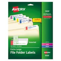 Avery X-Large 1/3-Cut File Folder Labels w/TrueBlock, 15/16 x 3 7/16, WE/ASST, 450/PK AVE5026