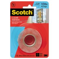 """Scotch Double-Sided Mounting Tape, Industrial Strength, 1"""" x 60"""", Clear/Red Liner MMM410P"""