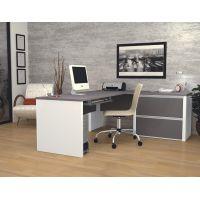 Bestar Connexion L-shaped workstation in Slate & Sandstone  BESBES9386259