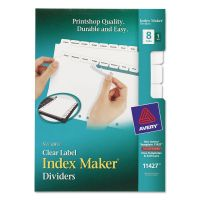 Avery Print & Apply Clear Label Dividers, 8-Tab, White Tab, 5 1/2 x 8 1/2, 1 Set AVE11427
