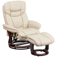 Flash Furniture Contemporary Beige Leather Recliner and Ottoman with Swiveling Mahogany Wood Base FHFBT7821BGEGG