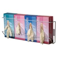 Unimed Wire Wall-Mount Glove Box Holder, 4-Box, Horizontal, Stainless Steel, White CTTBVQH004065