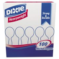 Dixie Plastic Cutlery, Heavyweight Soup Spoons, White, 100/Box DXESH207