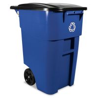 Rubbermaid Commercial Brute Recycling Rollout Container, Square, 50gal, Blue RCP9W2773BLU