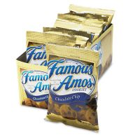 Kellogg's Famous Amos Cookies, Chocolate Chip, 2oz Snack Pack, 8/Box KEB98067