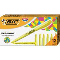 BIC Brite Liner Highlighter, Chisel Tip, Fluorescent Yellow, Dozen BICBL11YW
