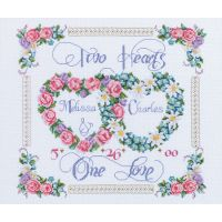 Janlynn Two Hearts, One Love Counted Cross Stitch Kit NOTM251169