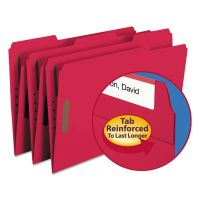 Smead Folders, Two Fasteners, 1/3 Cut Assorted, Top Tab, Legal, Red, 50/Box SMD17740