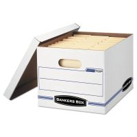 Bankers Box Stor/File Storage Box, Letter/Legal, Lift-Off Lid, White, 6/Pack FEL5703604