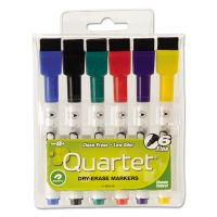 Quartet Low-Odor ReWritables Dry Erase Mini-Marker Set, Fine Point, Classic, 6/Set QRT51659312
