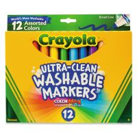 Crayola Washable Markers, Broad Point, Classic Colors, 12/Set CYO587812